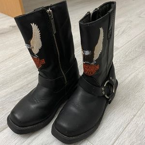 Toddlers Harley Davidson Genuine Leather Boots